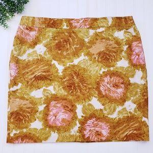 Talbots Gold Pink Floral Pencil Skirt sz 24W